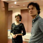 Елена Тарасова, Сергей Полтавский на съемках репортажа